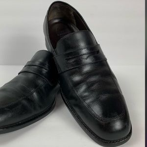 Johnston & Murphy Black Leather XC4 Penny Loafers